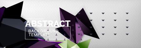 Mosaic triangular 3d shapes composition, geometric modern background. Triangles and polygons design