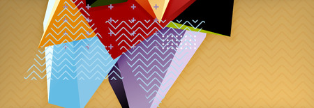 Vector 3d triangular shapes abstract background, origami futuristic template with lines Vettoriali