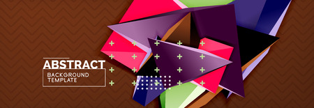 Vector 3d triangular shapes abstract background, origami futuristic template with lines