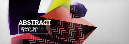 Dark 3d triangular low poly shapes abstract background Ilustração
