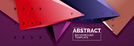 Abstract background, colorful minimal abstract triangle composition. Vector illustration, modern 3d triangular poster Vettoriali