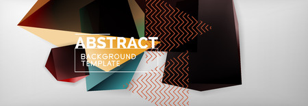 Dark color geometric abstract background, 3d shapes