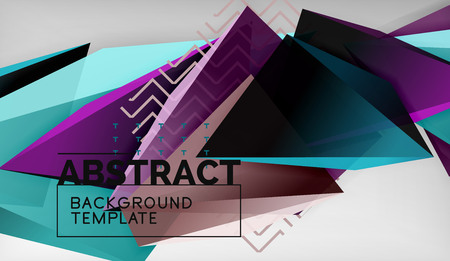 3d geometric triangular shapes abstract background, color triangles composition on grey backdrop, business or hi-tech conceptual wallpaper
