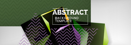 Dark color geometric abstract background, 3d shapes Vetores