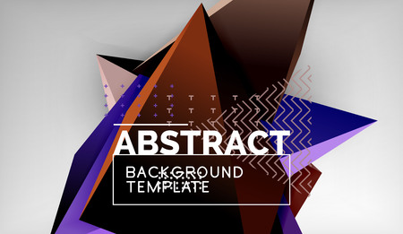 3d triangle geometric background design, modern poster template. Vector illustration