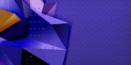 Vector triangular 3d geometric shapes background, modern poster design
