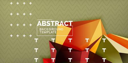 Vector triangular 3d geometric shapes background, modern poster design