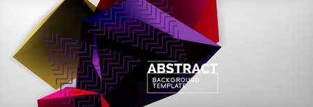 Geometric abstract background with color dark 3d shapes, vector modern business or techno poster design