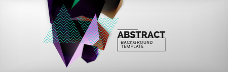 Triangular 3d geometric shapes composition, abstract background
