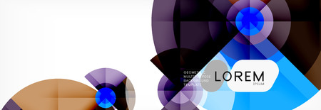 Minimal geometric circles and triangles abstract background, techno modern design, poster template