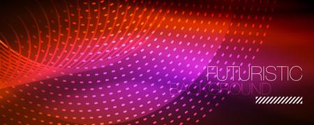 Partículas de luz que brillan intensamente en el espacio de neón oscuro, resplandor mágico brillante fondo abstracto. Diseño vectorial