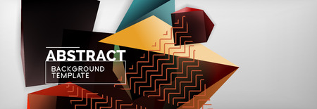 Geometric abstract background with color dark 3d shapes, vector modern business or techno poster design Ilustração