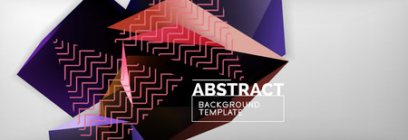 Dark 3d triangular low poly shapes abstract background, vector minimal geometric poster design Ilustrace