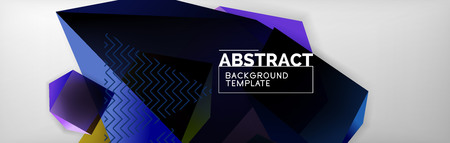 Geometric abstract background with color dark 3d shapes, vector modern business or techno poster design 矢量图像