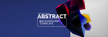 Geometric abstract background with color dark 3d shapes, vector modern business or techno poster design Ilustrace
