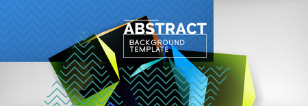 Geometric abstract background with color dark 3d shapes, vector modern business or techno poster design Illustration