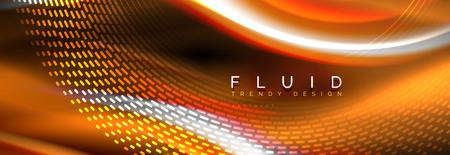 Fluid color neon wave lines background, neon liquid color futuristic paint template, vector illustration