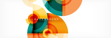 Flying circles geometric abstract background, vector