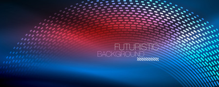 Glowing light particles in dark neon space, magic glow shiny abstract background