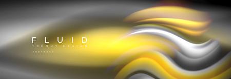 Fluid colors mixing glowing neon wave background, holographic texture, vector illustration Ilustración de vector
