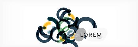 Linear design circle background, vector modern techno wallpaper Ilustração