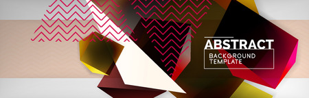 Triangular 3d geometric shapes composition, abstract background, vector line and shapes design
