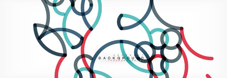 Curly lines abstract background, color overlapping linear texture, vector illustration Vektorgrafik