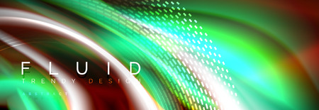 Fluid colors mixing glowing neon wave background, holographic texture Illustration