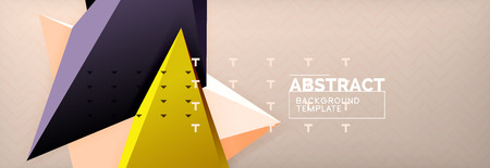Vector 3d triangular shapes abstract background, origami futuristic template with lines, minimal triangle design