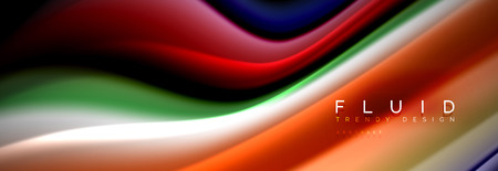 Bright colorful liquid fluid lines on black, vector modern abstract background Ilustração