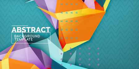Color geometric abstract background, minimal abstraction design with mosaic style 3d shape, vector modern poster design