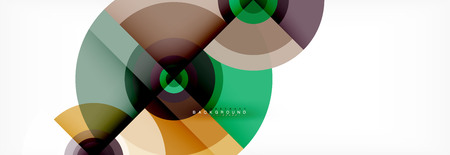 Round circles and triangles abstract background, vector illustration