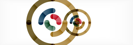 Vector outlined stroke circles composition, abstract background