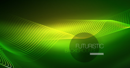 Abstract shiny glowinng color wave design element on dark background - science or technology concept, vector