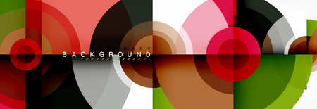 Circular vector abstract background, geometric style Ilustração
