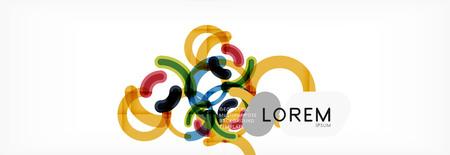 Line design circles abstract background, vector illustration Ilustracja