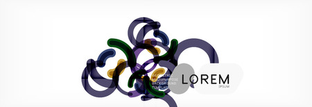 Round linear circle shapes background vector illustration