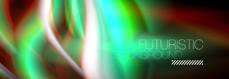 Fluid colors mixing glowing neon wave background, holographic texture, vector illustration