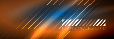 Neon glowing techno lines, hi-tech futuristic abstract background template with lines. Vector illustration Ilustração
