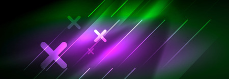 Abstract neon glowing light background. Dark background with lights. Abstract background with neon lights, night view. Vector