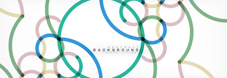 Curly lines abstract background, color overlapping linear texture, vector illustration