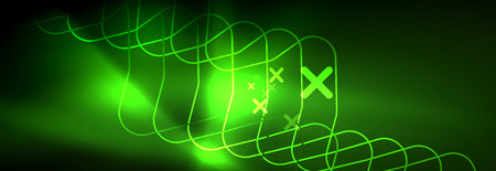 Shiny neon lights background, techno design, modern wallpaper for your project, vector illustration 写真素材 - 124876153