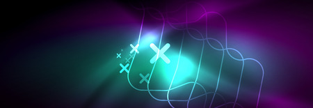 Glowing neon abstract lines, techno futuristic template, vector illustration Reklamní fotografie - 124876178