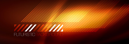 Neon glowing techno lines, hi-tech futuristic abstract background template with lines. Vector illustration Illustration