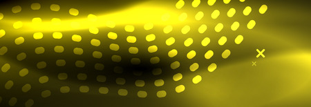Glowing abstract wave on dark, shiny motion, Christmas and New Year magic space light. Vector techno abstract background