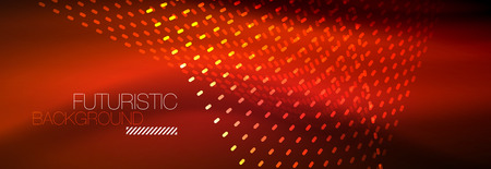 Glowing light particles in dark neon space, magic glow shiny abstract background. Vector design