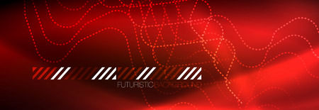 Neon glowing techno lines, hi-tech futuristic abstract background template with square shapes Ilustração