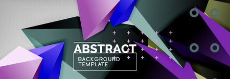 Bright colorful triangular poly 3d composition, vector abstract geometric background, minimal design, polygonal futuristic poster
