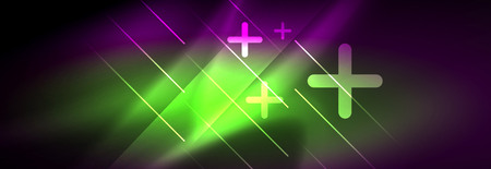 Shiny glowing lights neon color design background, vector Çizim