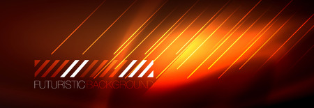 Neon glowing techno lines, hi-tech futuristic abstract background template with lines. Vector illustration Çizim